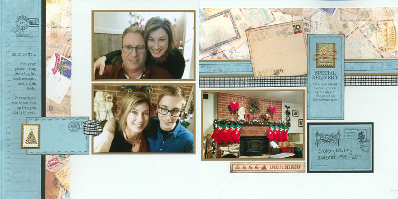 Holiday Mail page kit - Layouts by Karen Wyngaard #clubscrap #scrapbooking #pageformulas #pagekits