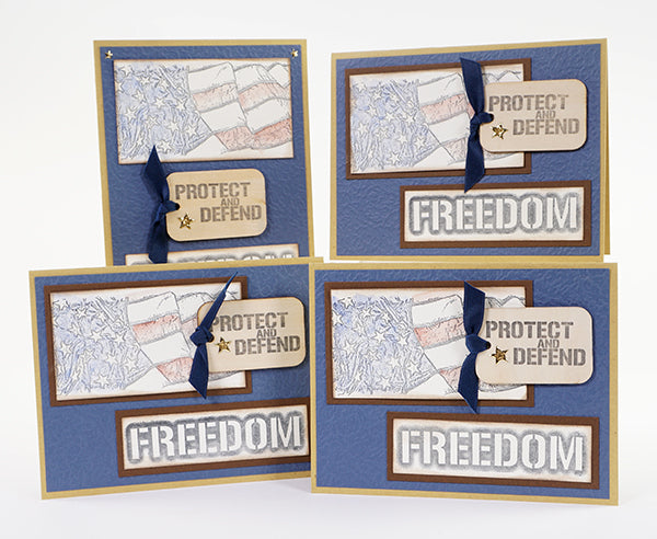 Honor the Brave Stamps - Turn the Honor the Brave page kit into a set of 22 stamped cards. #clubscrap #cardmaking #honorthebrave