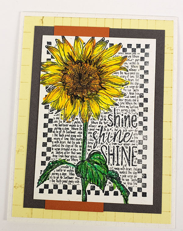 Lodge Card Formula 2.0 - Sunflowers stamped card