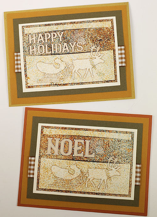 Lodge Christmas Cards - Make Lodge Christmas cards by pairing the Card Kit Holiday Cutaparts and Deluxe Card Formula #4 with papers from your stash.