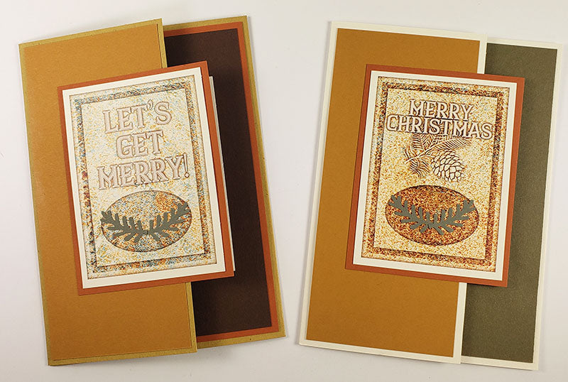 Make Lodge Christmas cards by pairing the Card Kit Holiday Cutaparts and Deluxe Card Formula #4 with papers from your stash.