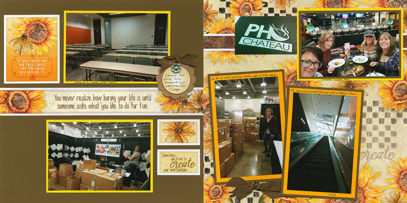 Sunflowers Remix Pages by Tricia Morris #clubscrap #sunflowers #pagekit