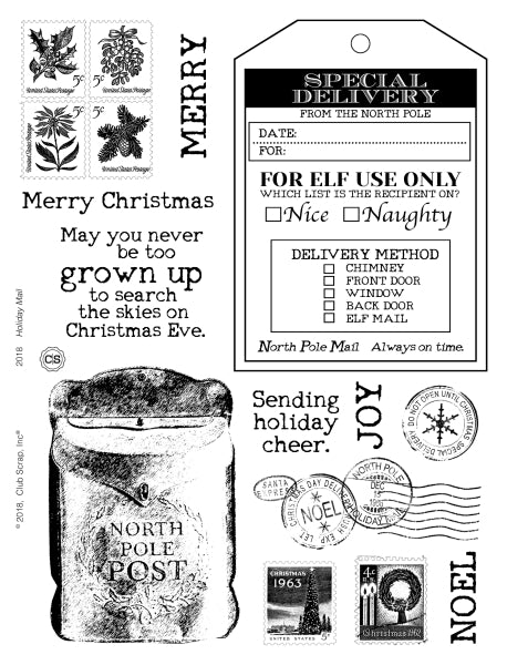 Holiday Mail Rubber Stamps by Club Scrap #clubscrap #stamping #cardmaking