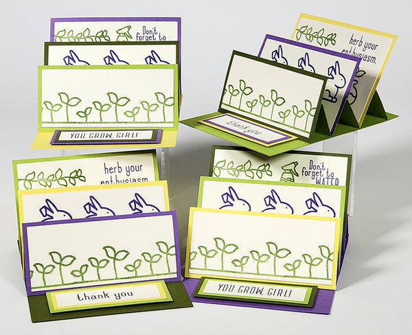 Triple Easel Card with the Club Scrap Sprouts stamps #clubscrap #efficientcardmaking