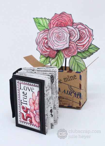 Bouquet in a Box Valentine's Day project #clubscrap #valentines #box #bouquet #rubberstamps