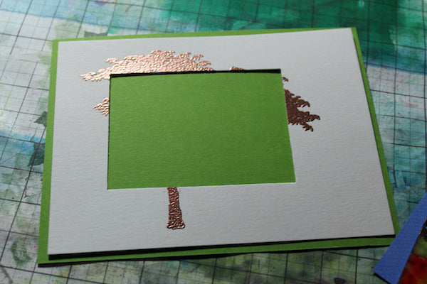 Double Mat card with Color Bursts #colorbursts #clubscrap #trees #card #heatembossing