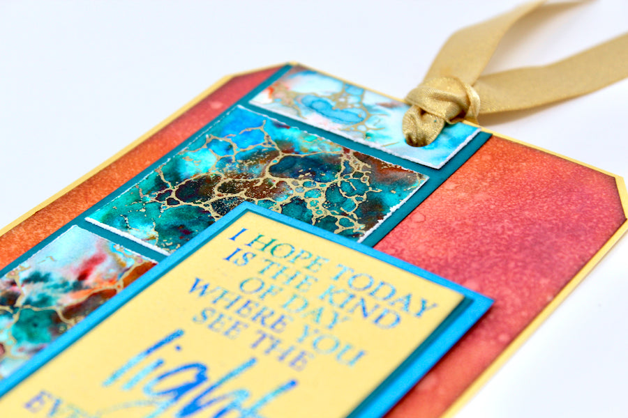 Turquoise Jumbo Tag Tutorial #clubscrap #distressoxides #inks #techniques #embossing #tag