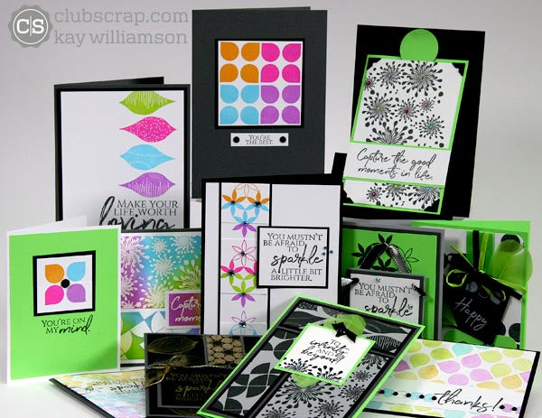 Club Scrap Patter Play Rubber Stamped Cards #ClubScrap, #RubberStamping
