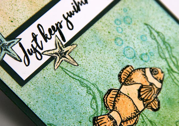 Greeting Card Created With Club Scrap's Lagoon Unmounted Stamps & Papers #clubscrap #lagoon #clownfish #starfish