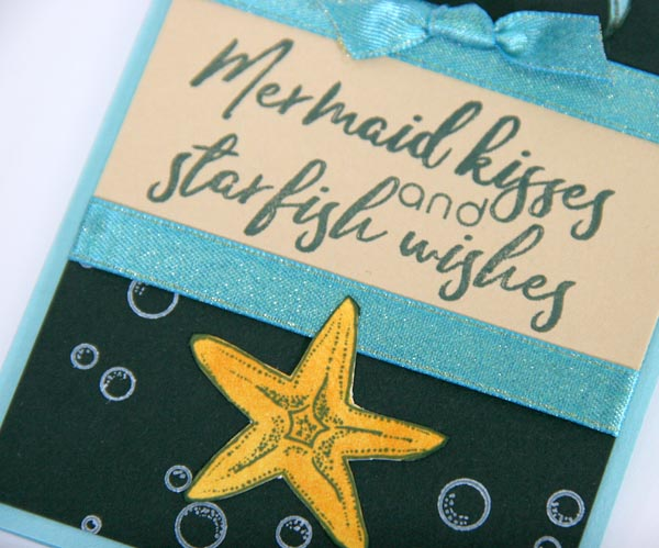 Greeting Card Created With Club Scrap's Lagoon Rubber Stamps & Papers #clubscrap #lagoon #mermaids #bubbles #starfish