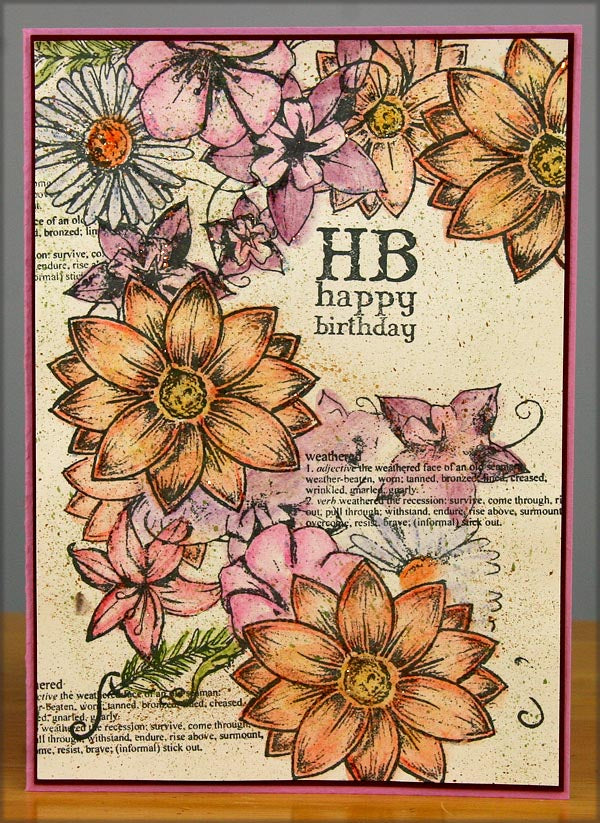 Club Scrap Weathered Floral Rubber Stamps