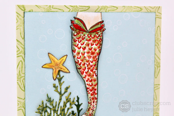 Mermaid Holiday Cards #clubscrap #holiday #mermaid #cardmaking #rubberstamping