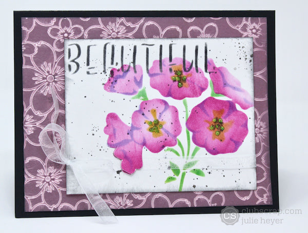 Primrose Pages stenciled card #clubscrap #stencil #card
