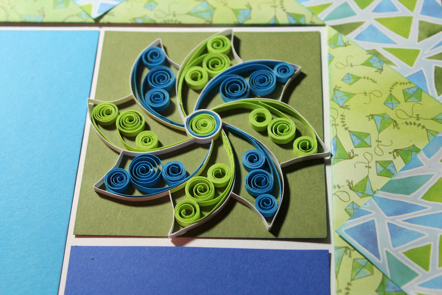 Quilled Pinwheel Fly A Kite Page #clubscrap #quilling #scrapbooking