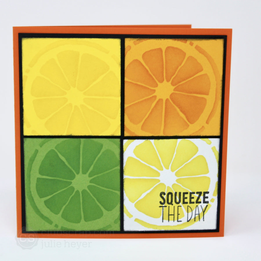 Stacked Squares Zest for Life Cards #clubscrap #citrus #cards