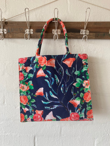 Retro Flowers Grab + Go Tote