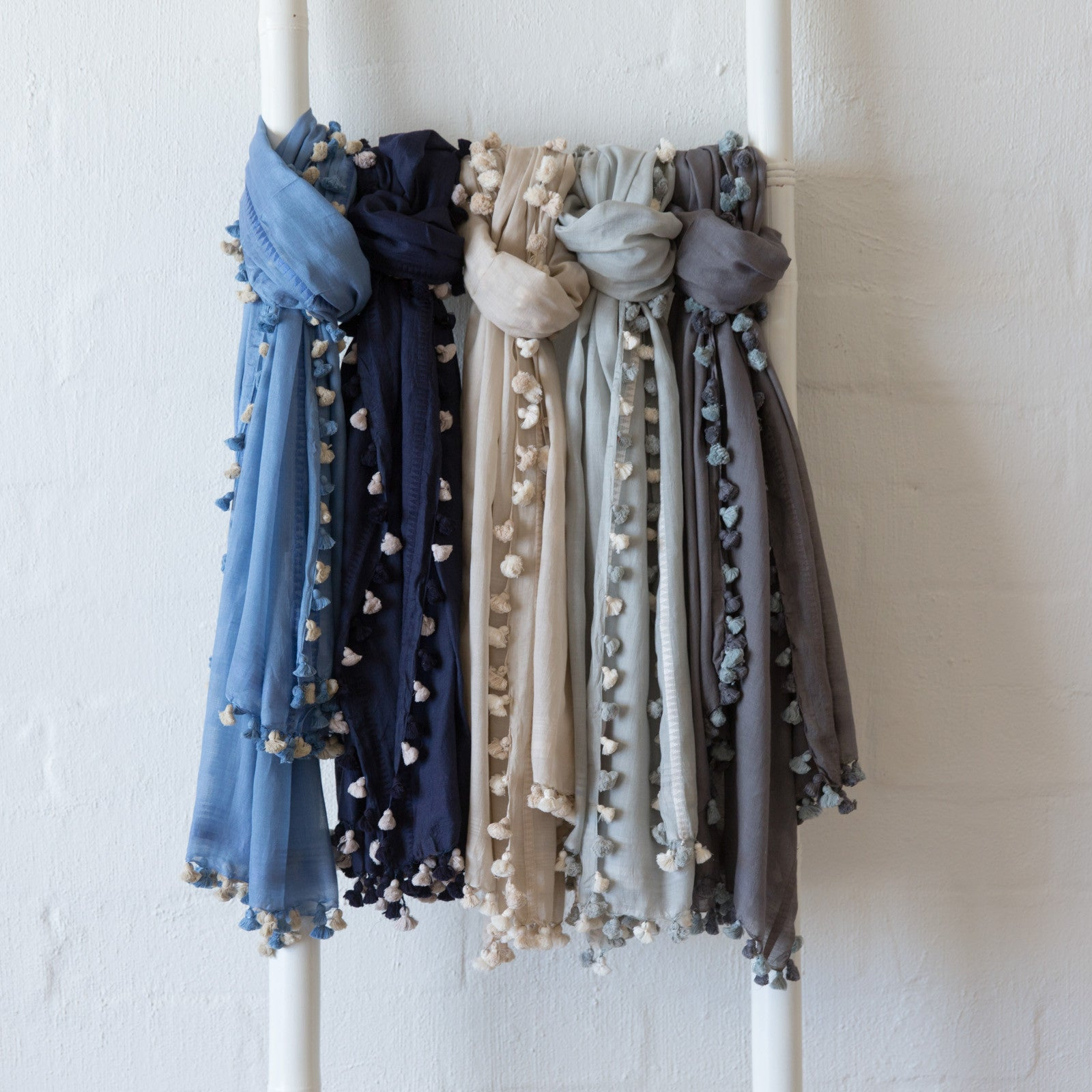 Isabel Pom Pom Scarf Soft Grey