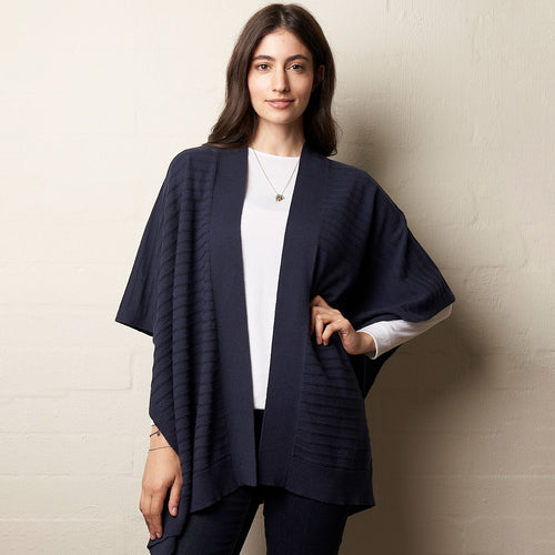 Multi Wool Wrap  Navy