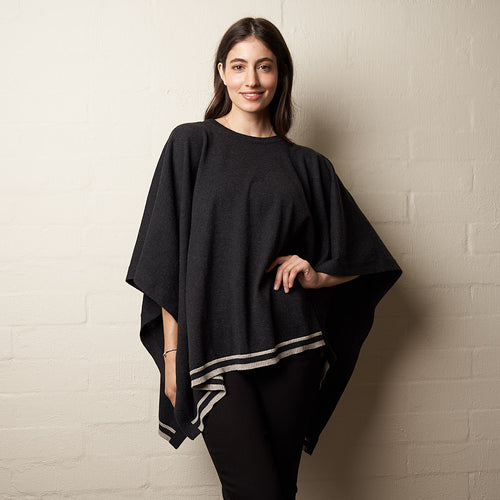 Wool Stripe Poncho Charcoal