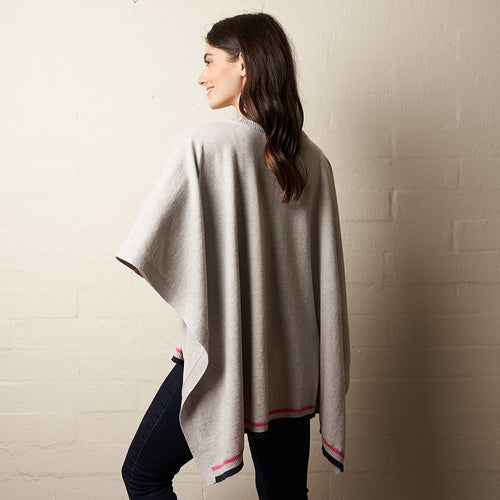 Wool Stripe Poncho Grey