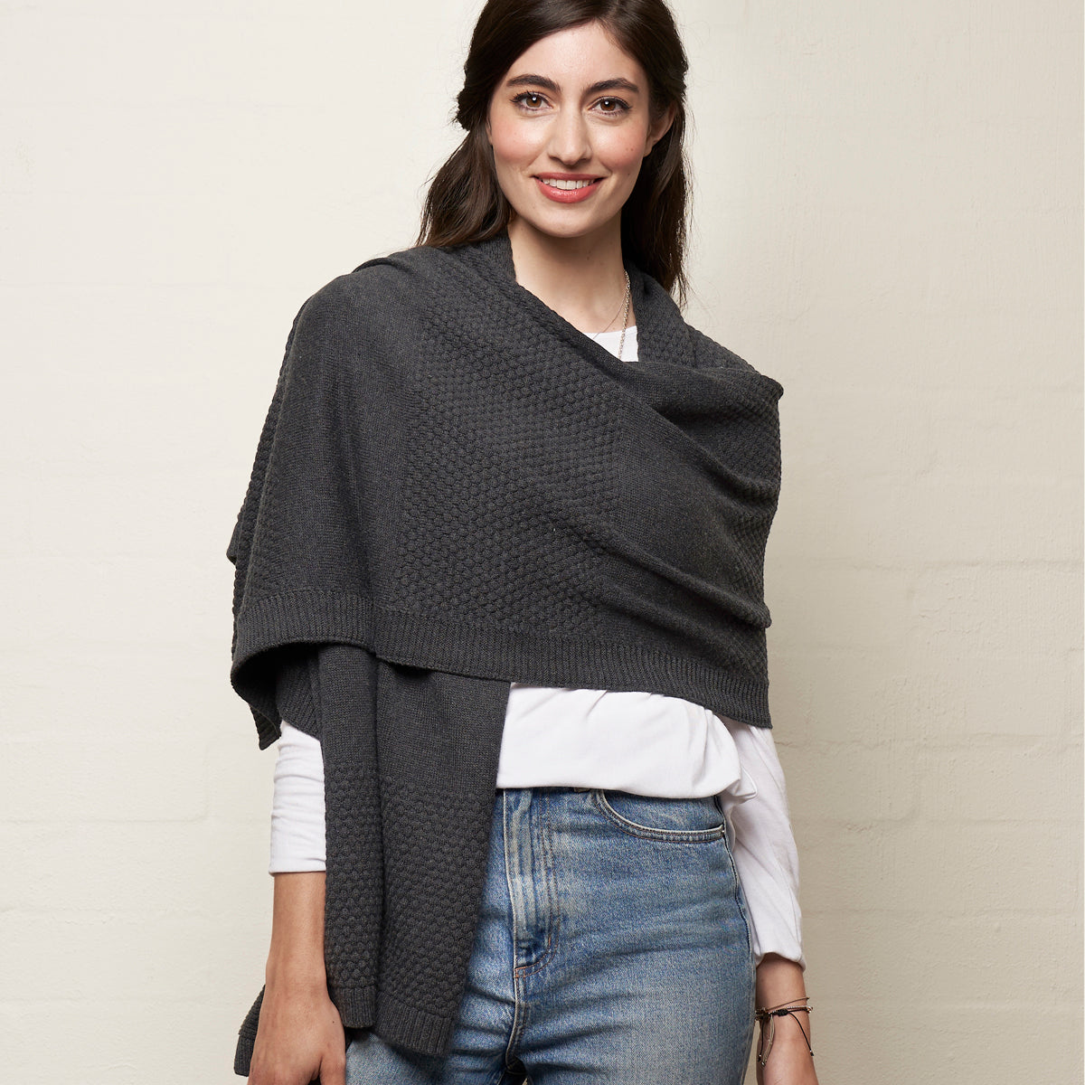 Bubbles Wrap Charcoal Soft Cotton Scarf