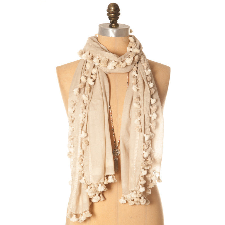 Isabel Pom Pom Scarf Natural