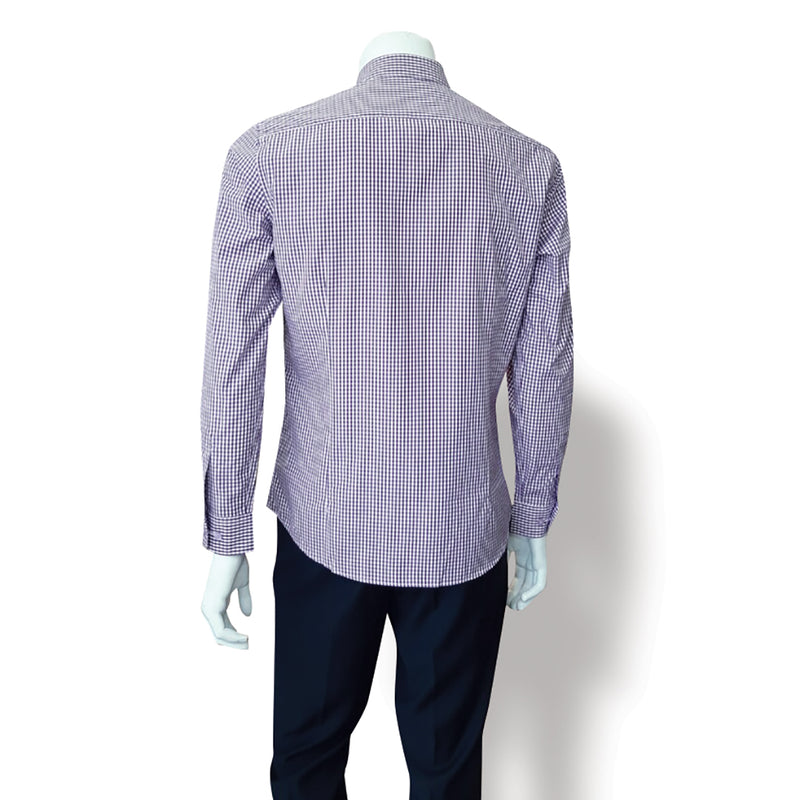 Slim Fit Long Sleeve Y-Shirts Small Check Purple