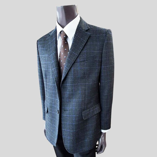 Men's Plaid Wool Blend Blazer