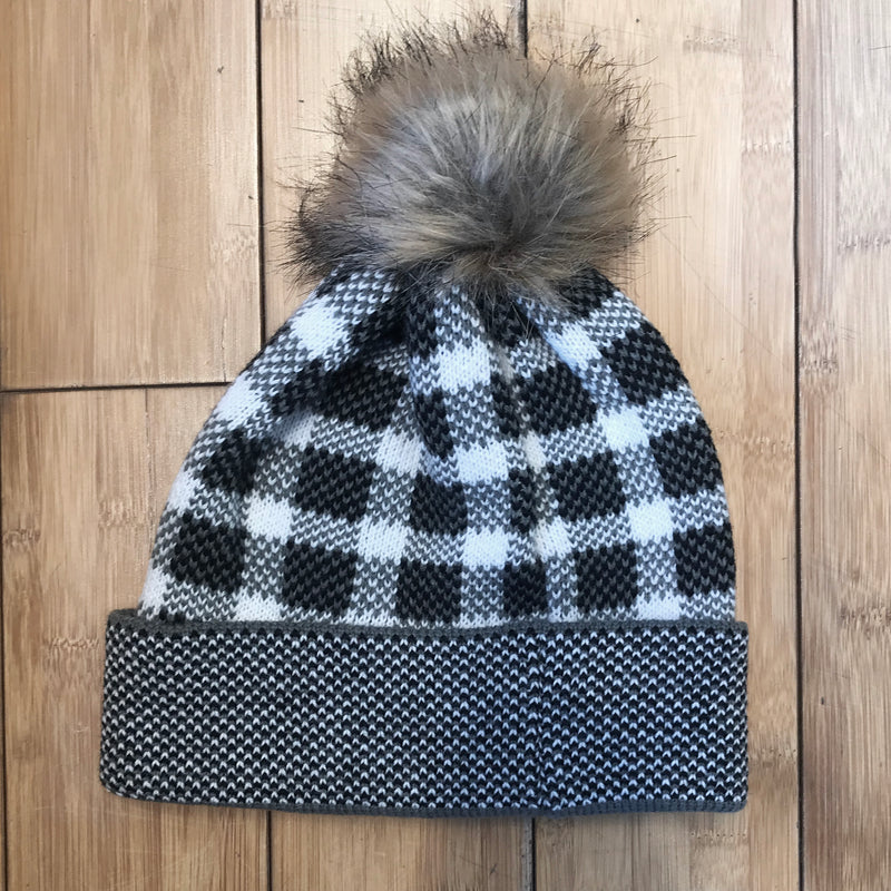 Check Pattern Knitted Hat