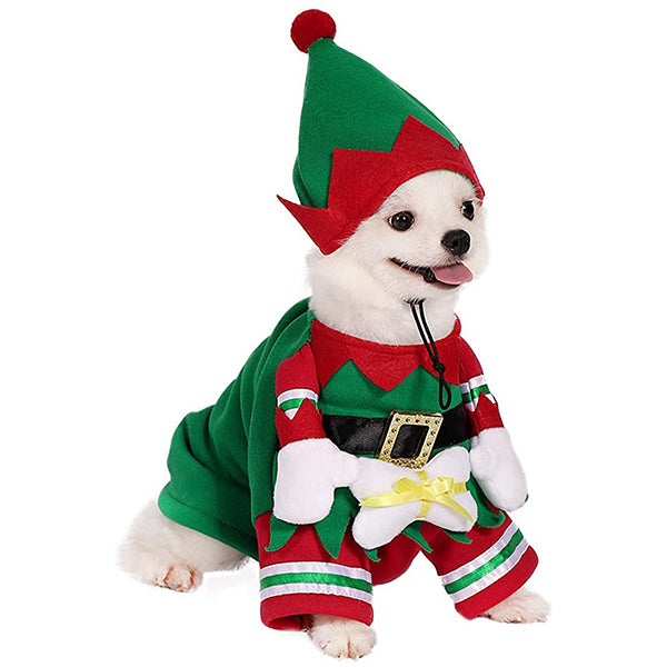 Dog Cat Christmas Elf Costume with Hat