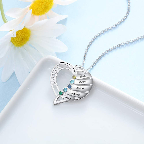 Personalized Name and Birthstone Necklace for Mother's Day