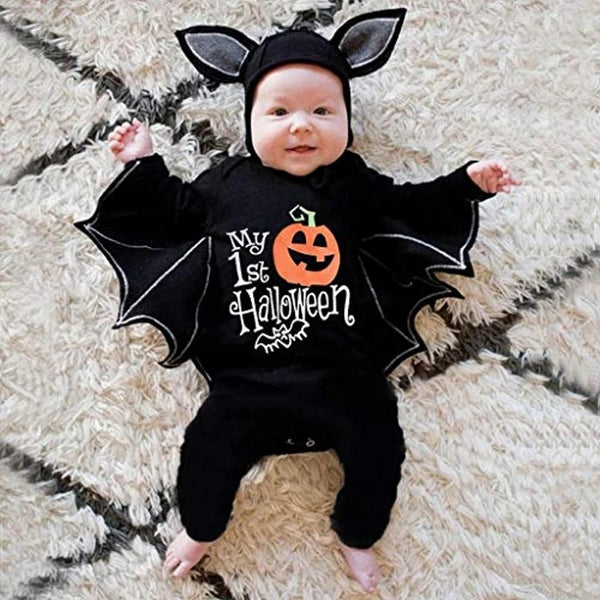 Baby Girl Boy Clothes Black Bat Costume Cloak Romper with Hat Outfit