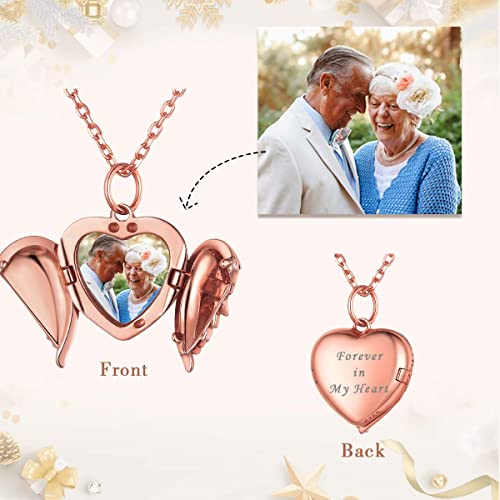 Personalized Heart Angle Wing Necklace