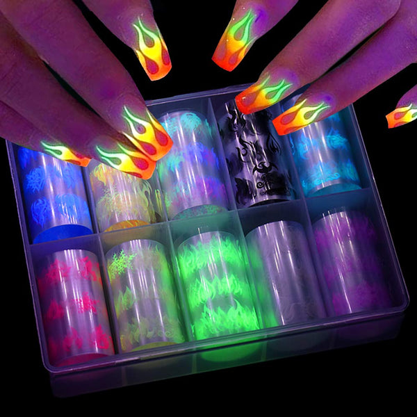 Glowing Flame Nail Sticker