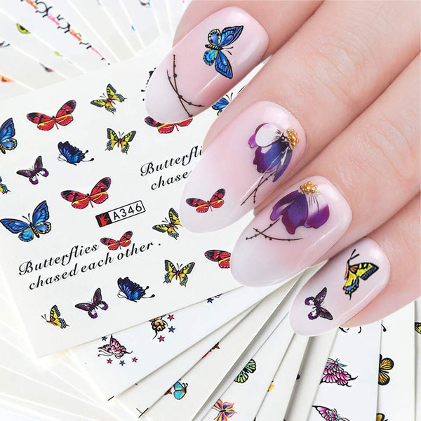 DIY nail stickers butterfly, flower, feather and other nail decorations