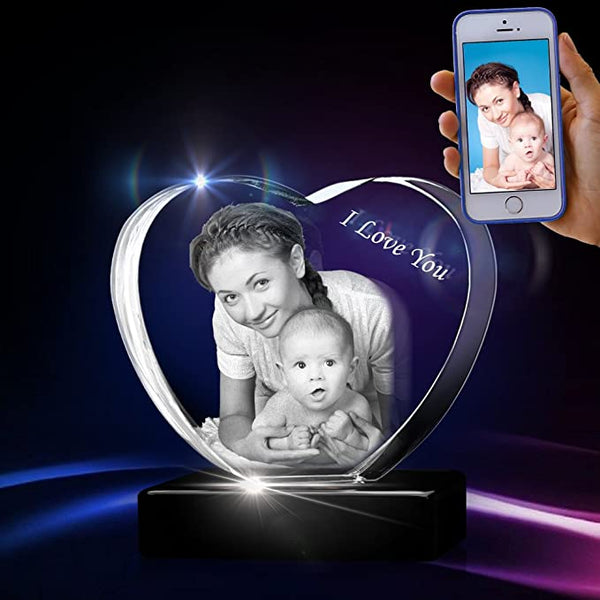 3D Crystal Picture Engraved Heart