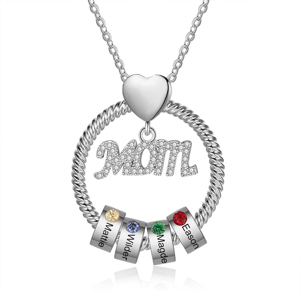 Custom Name with Simulated Birthstone Necklace for Women