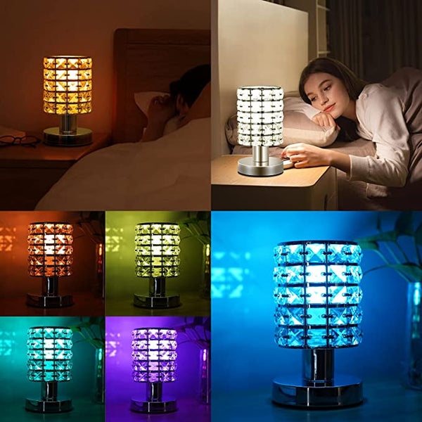 Crystal Table Desk Lamp with Remote Control 16 Colors Changing