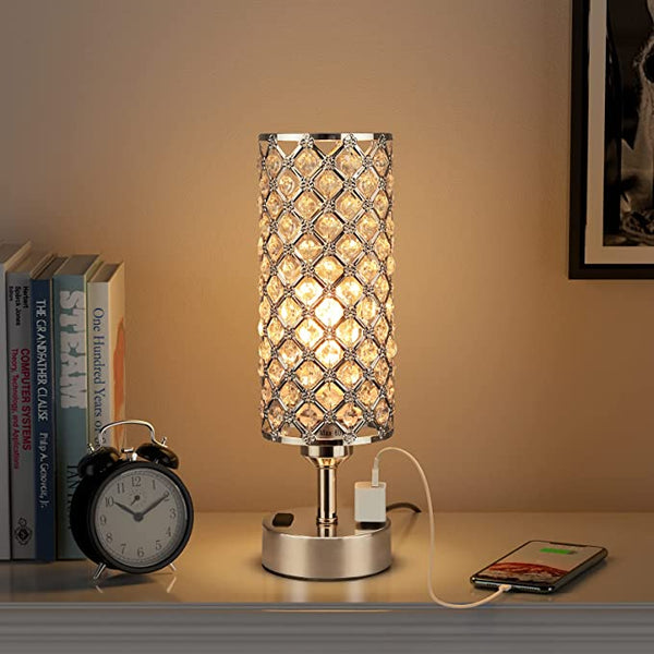 Crystal Table Lamp, Hong-in Rose Gold Lamp with USB Ports