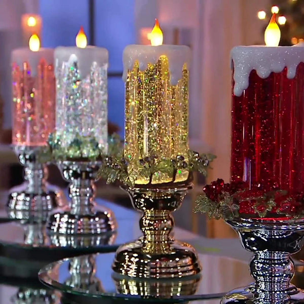 Color Changing Glitter LED Flameles Romantic Crystal Candle Light