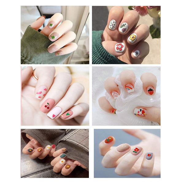 Package includes 14 sheets of 3D self adhesive cute nail stickers. Each sheet has about 36-54 patterns. Cute nail decals include flowers, plants, rainbow, fruits, heart, animals and more. Nail art sticker set for women and kids to DIY their own nail art decoration. Thin and long-lasting glossy nail stickers. The thickness of the nail decals is 0.04mm with a glossy finish, just the same nail art effect in nail salons. Also, our stickers can last for a long time. Safe materials. The nail stickers are made of environmental-friendly material, non-toxic and water resistant. Individually Packaging. Each sheet is individually decently packaged. Suitable holiday gifts for women and girls or for personal use. Easy to use. Requires no watermark. Just stick them on nails, easy and time-saving. Peel off the stickers from the sheet gently to avoid damage the sticker edge. You can also peel off the stickers with a tweezer. Apply a top coat after stickers for best nail art. You can also apply the nail polish you like before use the stickers.