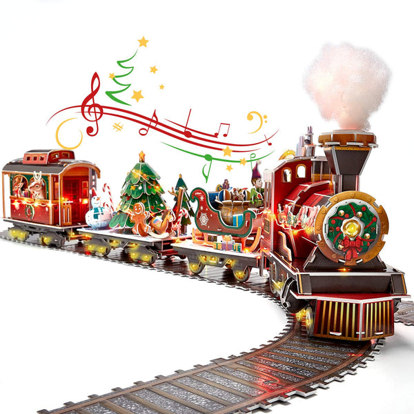 3D Puzzle for Adults Kids LED Christmas Train Sets