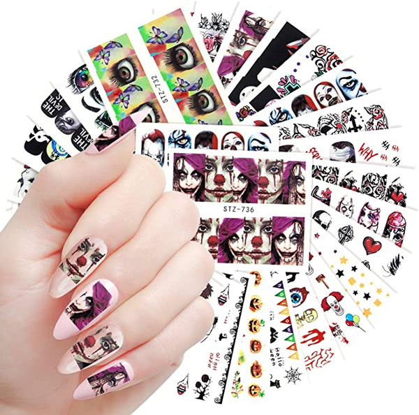 Water Transfer Bloodcurdling Skull Face Eyes Spider Nail Art DIY Decals for Halloween