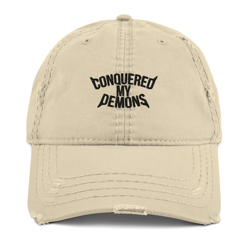 "The ""CONQUERED MY DEMONS"" Distressed Dad Hat (Khaki)"