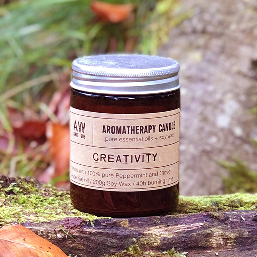 Our Creativity candle is the perfect accompaniment to many a creative task! Whether you need a burst of inspiration, a break to clear the mind or just a fresh scent in your space while you work, this is for you! A combinational scent of Peppermint and Clove encased in a classic amber glass jar will compliment any home or office décor. Each candle comes in Kraft gift box making it a perfect gift for any occasion. Each candle is hand poured in small batches and lasts up to 40 hours of burn time.