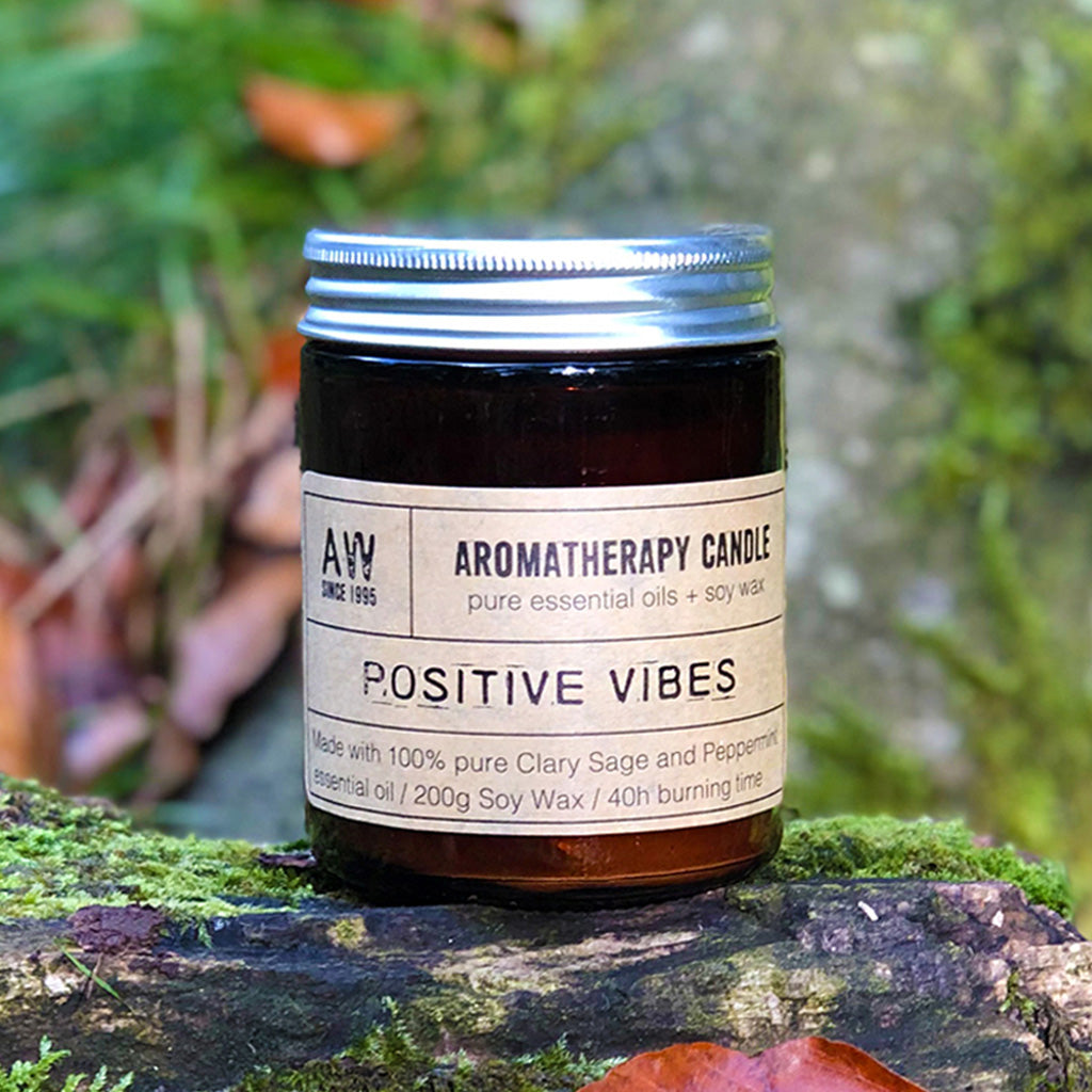 A clean and fresh scent, our Positive Vibes candle is a part of our daily ritual. A cleansing combinational scent of Clary Sage and Peppermint encased in a classic amber glass jar will compliment any home or office décor. Each candle comes in Kraft gift box making it a perfect gift for any occasion. Each candle is hand poured in small batches and lasts up to 40 hours of burn time.