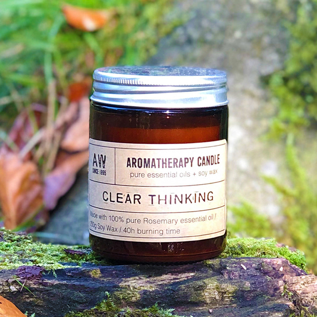 Our Clear Thinking candle smells of long walks in an English Country Garden, the perfect antidote to a crazy world, and perfect for taking time out with. A gorgeous scent of fresh rosemary encased in a classic amber glass jar will compliment any home or office décor. Each candle comes in Kraft gift box making it a perfect gift for any occasion. Each candle is hand poured in small batches and lasts up to 40 hours of burn time.