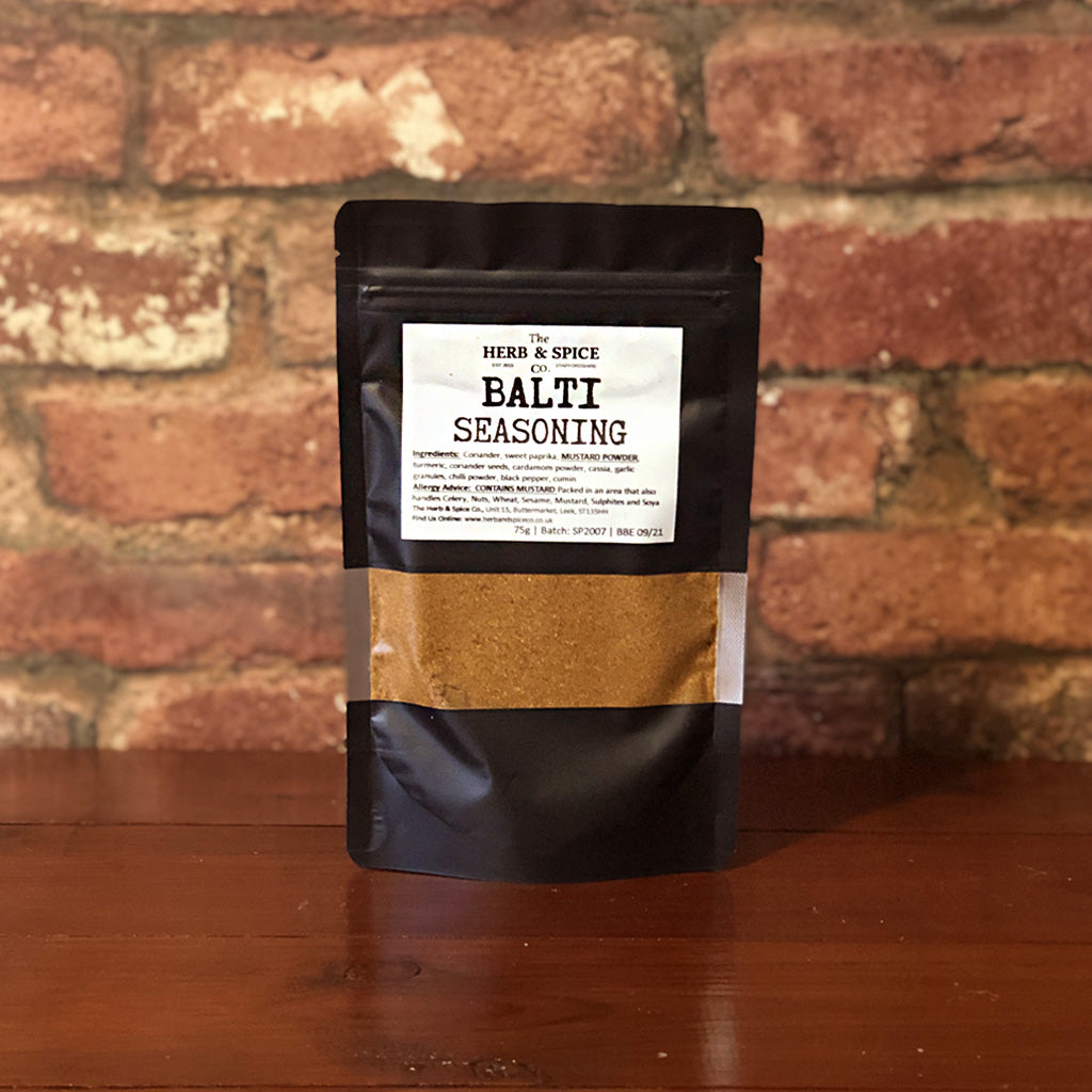 A Birmingham staple! This Balti Seasoning from the Herb & Spice Co. is a mild to medium seasoning, ideal for adding a little spice to your Indian-inspired dishes! Also great for adding to yoghurt marinades or sprinkling over chicken or chips!