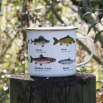 Load image into Gallery viewer, We are in love with our ecology enamelware mugs - This one is perfect for the fisherman in your life, or for your own adventure! Whether it's a weekend away, to brighten up the kitchen or as a gift, these mugs are a perfect eco-friendly alternative to disposable cups. Embrace nature with this enamel mug with all over fish print. Enjoy at home or out and about with these versatile mugs, available in a range of styles!