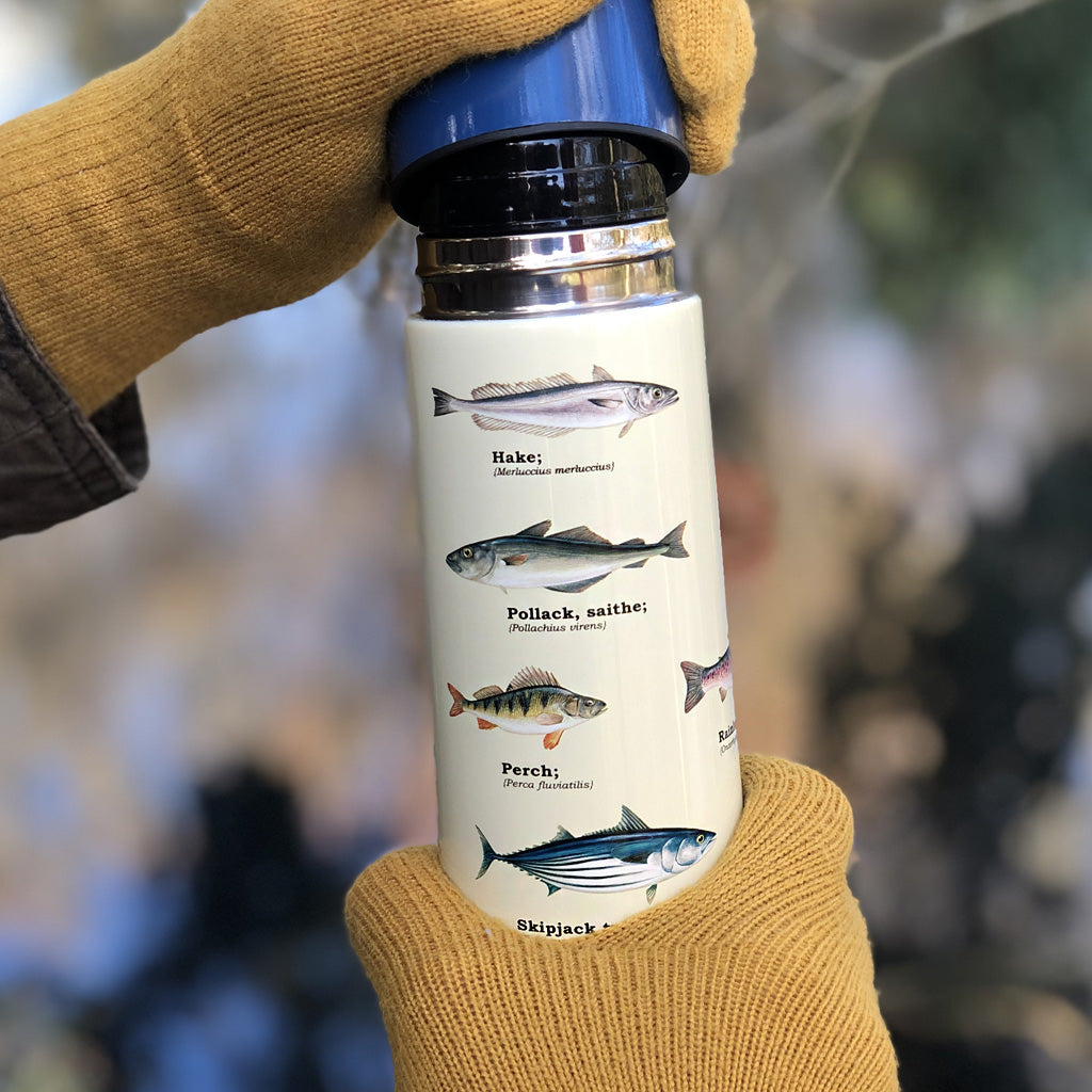"Our ""Fish Flask"" is the perfect accompaniment for any fishing fan! Look no further than the fish vacuum flask to provide you or your fish folk with all the refreshment needed while on the move! Our popular fish flask pattern is also available on our enamel mugs - get the perfect set as an excuse to start a new hobby, or maybe as the perfect gift for your sole (geddit?!) mate. Fish design also comes in our Enamel mugs."
